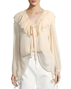 Silk Crepe Tie-Neck Top by See by Chloe at Neiman Marcus.