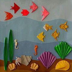 Risultati immagini per cuadros de papel origami Kids Crafts, Summer Crafts, Preschool Crafts, Diy And Crafts, Arts And Crafts, Paper Crafts, Diy Paper, Diy Niños Manualidades, Under The Sea Crafts