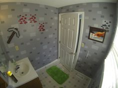 Minecraft bathroom   Check out http://minecraftfamily.com/ for cool new Minecraft stuff!