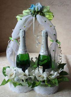 Gallery.ru / Декор Шампанского в виде сердца - <em>мастер-класс декор бутылок шампанского</em> Свадебно-сердечный 2012 - Ryazanochka-II