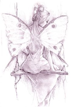 by JennyBunny on DeviantArt - - - - -Swing, swing. by JennyBunny on DeviantArt - - - - - Fairy Moon-Fairy Faery Art -David Delamare Fairy Drawings, Sad Drawings, Art Drawings Sketches, Tattoo Drawings, Cat Tattoo, Tattoo Pics, Fantasy Kunst, Fantasy Art, Elfen Tattoo