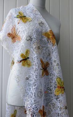 Handmade shawl white crazy wool technique for women от crazywoolLT, $70.00
