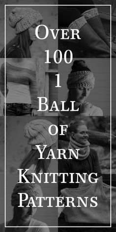 Over 100 – 1 Ball of Yarn Knitting Patterns! Over 100 – 1 Ball of Yarn Knitting Patterns! Beginner Knitting Patterns, Easy Knitting, Knitting For Beginners, Loom Knitting, Knitting Stitches, Snood Knitting Pattern, Kids Knitting, Knit Patterns, Yarn Projects