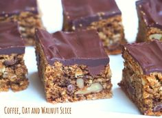 Everyone will go nuts for this mocha inspired slice packed with oats, nuts and choc chips. It's delicious with a dark chocolate topping or without! Tray Bake Recipes, Baking Recipes, Cookie Recipes, Snack Recipes, Dessert Recipes, Oat Cookie Recipe, Thermomix Desserts, Baking Ideas, Oat Slice Healthy