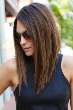 Chocolate brown hair with long length Bob in straight hair