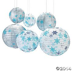 Winter snowflake paper lanterns for a Frozen birthday party