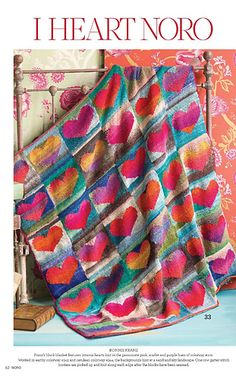 LOVE this Heart Blanket knit with Noro Kureyon. And Knitting Fever is doing a knitalong for it! Knitting Yarn, Baby Knitting, Knitting Patterns, Knitted Afghans, Knitted Blankets, Cozy Blankets, Knitting Magazine, How To Purl Knit, Knitting Projects