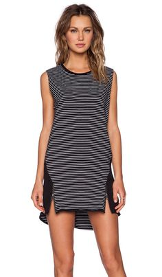 Evil Twin The Line Up Tank Dress in Black & White