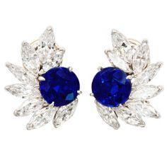Elegant sapphire and diamond earclips