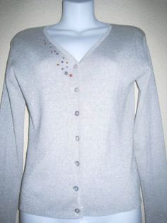 Joseph A women silk metallic knit top sweater. Graphic detail done by local fort Lauderdale artist.
