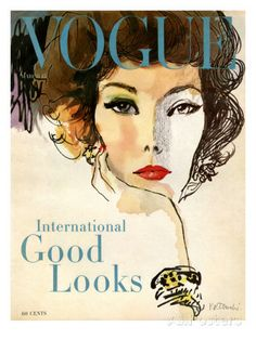 Vintage Vogue Cover Illustration- March 1958 Giclee Print by René R. Bouché at… Vogue Magazine Covers, Fashion Magazine Cover, Fashion Cover, Vogue Vintage, Vintage Vogue Covers, Fashion Vintage, Vintage Posters, Vintage Art, Vintage Quotes