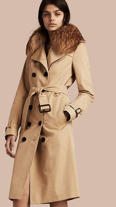 Honey Cotton Gabardine Trench Coat with Detachable Raccoon Collar - Image 1 ca8f46e5fab46