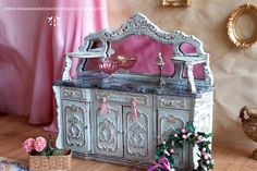 Antique French Buffet 1/12 scale dollhouse by HummingbirdMiniature, $200.00
