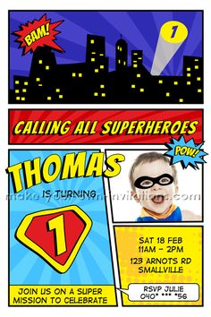 Cool printable comic book Super Hero Invitations for a 1st birthday pary.