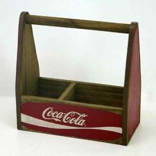 COCA-COLA WOODEN CONDIMENT HOLDER UTILITY TOTE UTENSIL CADDY DECOR COKE CARRIER