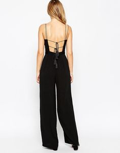 Image 2 of ASOS Organza Trim Front Jumpsuit With Tassel Back