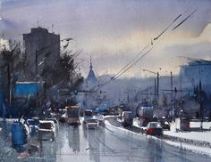 """""""Wet Day,"""" watercolor #painting by Eugen Chisnicean. See more watercolors by Chisnicean in this free article!"""