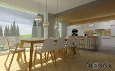 3D-visualisointi ja -sisustussuunnittelu uudisrakennukseen / moderni - skandinaavinen keittiö, sormipaneeli katossa sekä välitilassa lasin takana, valkoiset mattamaaalatut uralliset kiintokalusteet, betonilattia, tuntomaalilla harmaaksi maalatut seinät, kalanruotoparketti, ledipaneeli kaapiston päällä ja alla, ruokapöydän päällä valaisin Crescent Light, Lee Broom/ 3D-sisustus Tilanna
