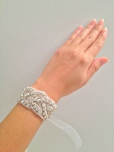 Crystal bracelet, Bridal bracelet, beaded crystal cuff - DEANNA. $25.00, via Etsy.