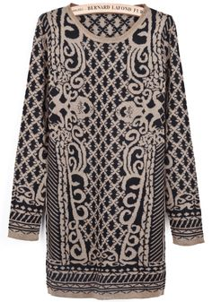 Black Gold Long Sleeve Diamond Patterned Sweater Dress EUR€23.86