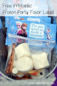 Do you want to build a snowman? Free party printable for your next Frozen party! Build-a-snowman kit label for adorable party favors!