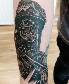 100 Military Tattoos For Men - Memorial War Solider Designs Army Tattoos, Military Tattoos, Skull Tattoos, Sleeve Tattoos, Gun Tattoos, Warrior Tattoos, Forearm Tattoos, Couple Tattoos, Tattoos For Guys