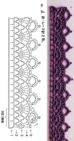 Crochet Border Patterns, Crochet Lace Edging, Crochet Diagram, Crochet Chart, Diy Crochet, Crochet Designs, Crochet Doilies, Knitting Patterns, Crochet Braid