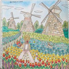 ロマカン2より 花畑 少しでも 明るくなれますように 元気になれますようにと 願いを込めて塗りました❤️ #塗り絵#大人の塗り絵#おとなの塗り絵#コロリアージュ#ロマンティックカントリー 2016・4・15