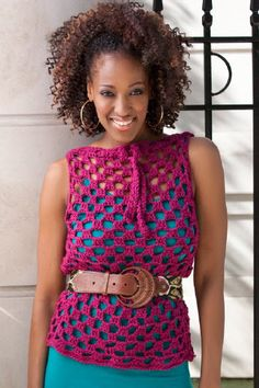 Red Heart® Soft™ Trendy Top Overlay by Double Stitch Twins. #crochet #pattern