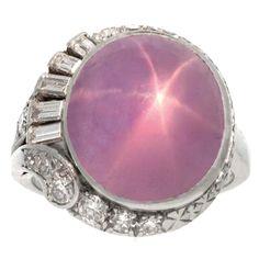 J. Milhening star sapphire and diamond ring, circa 1935