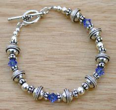 Royal Blue Swarovski Crystal Bracelet, Bali Beaded Bracelet, Sterling Silver Bracelet, Sterling Silver and Crystal Bracelet.  By SparkleAndSplendor