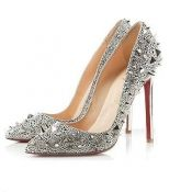 Amazing price! $15.99 Fashion Pointed Closed Toe Flattery Rivet Embellished Stiletto High Heels Sliver PU Pumps