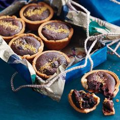 Paul A Young's brownie mince pies recipe. These pies are a cross between a classic boozy mince pie and a gooey brownie. Pie Recipes, Dessert Recipes, Cooking Recipes, Desserts, Mince Meat, Mince Pies, Biscuits, Brownie Toppings, Gooey Brownies