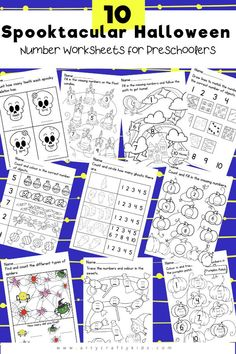 10 Spooktacular Number Worksheets for Preschoolers: Our number worksheets are fun, bold and spooky - and are designed specifically with preschoolers (and their attention spans!) in mind. Once children are engaged with the Halloween theme, they'll soon be getting to grips with numbers like a pro! Halloween Coloring Pages for Kids | Halloween Preschool Number Activities | Preschool Educational Printables for Kids Numbers | Printable Preschool Worksheets Numbers | Halloween Preschool Worksheets