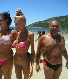 those breast implants were a good idea at 20, not so good when you're 80. Yikes