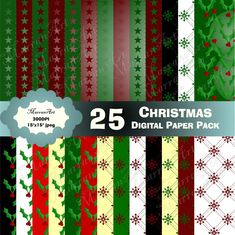 Christmas Digital Paper Pack Christmas Paper, Christmas Themes, Xmas, Holiday Decor, Image Paper, Shop Logo, Pattern Paper, Packing, Etsy Shop