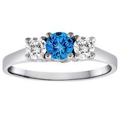 14K White Gold Round 3 Stone Blue Diamond and White Diamond