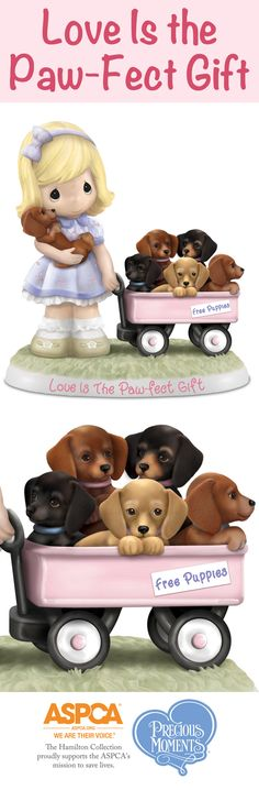 Featuring a Precious Moments girl and a wagon full of dachshund puppies, this Love is the Paw-Fect Moments Together Figurine Collection is doggone adorable!