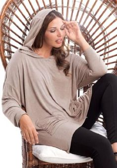 Jessica London Plus Size Sharktail Hoodie,