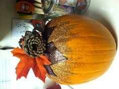 Pumpkin I didn't end up carving for Halloween, decided to use it for Thanksgiving. I think it came out pretty cute! ;-)