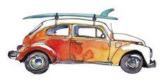 Surf Car V Wall Art, Canvas Prints, Framed Prints, Wall Peels Canvas Wall Art, Wall Art Prints, Big Canvas, Canvas Prints, Framed Prints, Car Drawings, Watercolor Artwork, Retro Toys, Wrapped Canvas