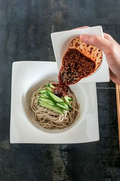 Cucumber Soba Noodles with Sweet Chili Soy Dressing. Delicious, light, refreshing and more-ish. A perfect summer dish. | MyKoreanKitchen.com  #mykoreankitchen #koreanfood #koreanrecipes #coldnoodles #soba
