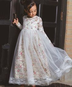 Look what I found on #zulily! Ivory Floral Isabelle A-Line Dress - Toddler & Girls #zulilyfinds