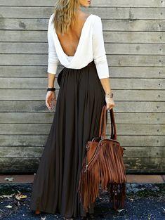 $13.78 Alluring Long Sleeve Open Back Draped Maxi Dress
