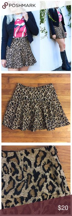"Free People Chenille Leopard Mini Skirt --- 4 Free People Chenille Leopard Skirt --- 4 ---excellent pre-loved condition --- waistband is lined --- shell is 75% rayon 25% polyester --- lining is 100% cotton --- side invisible zipper with hook and eye closure --- 13.5"" waist --- 17"" length --- no stretch, please double check measurements --- tag has been cut out, but Free People metal plate remains --- thank you for visiting my boutique, please feel free to ask any questions ❤️ Free People…"