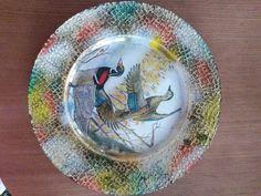 Round Glass Decoupage Plate, Plate in Decoupage technique, BirdsPlate
