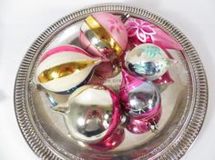 Vintage Set of 6 Teardrop Glass Christmas Ornaments by PherdsFinds