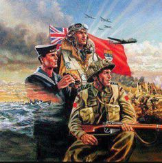 When the royal army, navy, and the air force defended Britain's shores. Canadian Army, Canadian History, Remembrance Day Art, Ww2 Posters, Armistice Day, Military Tattoos, Military Art, Military Ranks, Military Weapons