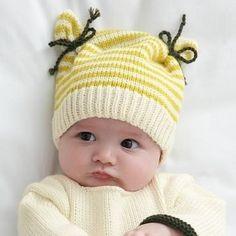 Ravelry: Bonnet écru layette pattern by Phildar Design Team Layette Pattern, Baby Hat Knitting Pattern, Baby Hat Patterns, Baby Hats Knitting, Knitting For Kids, Loom Knitting, Knitting Patterns Free, Free Knitting, Knitted Hats
