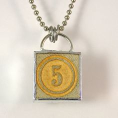 Number 5 Pendant Necklace by XOHandworks $20
